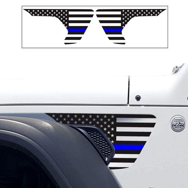 side-fender-usa-flag-decals-air-scoop-wrangler-gladiator-jl-jtl-before-after-thin-blue-line-LEO-police