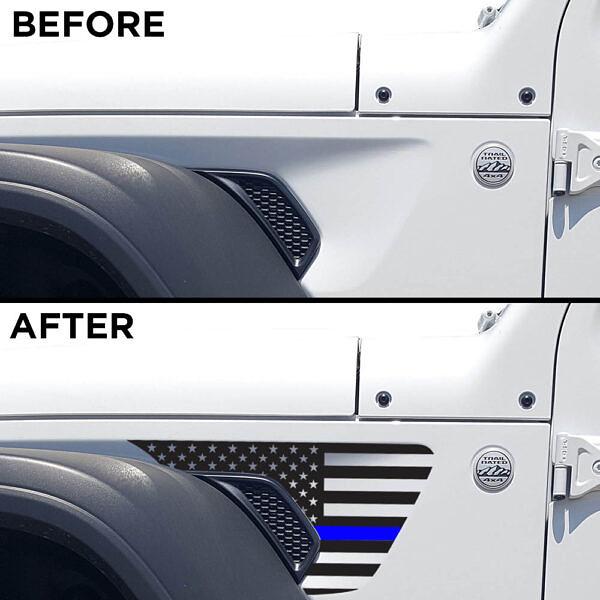 side-fender-usa-flag-decals-air-scoop-wrangler-gladiator-jl-jtl-before-after-thin-blue-line-LEO-police-TBL